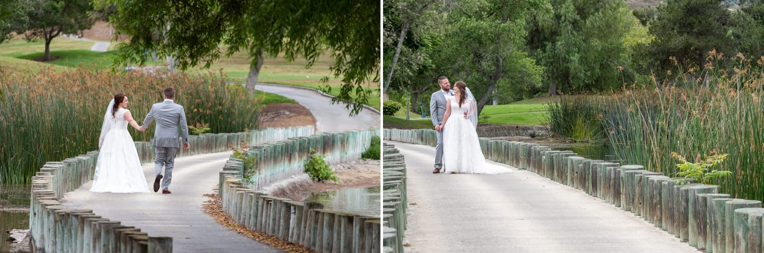 Bride and groom on the bridge at Twin Oaks Golf Course.