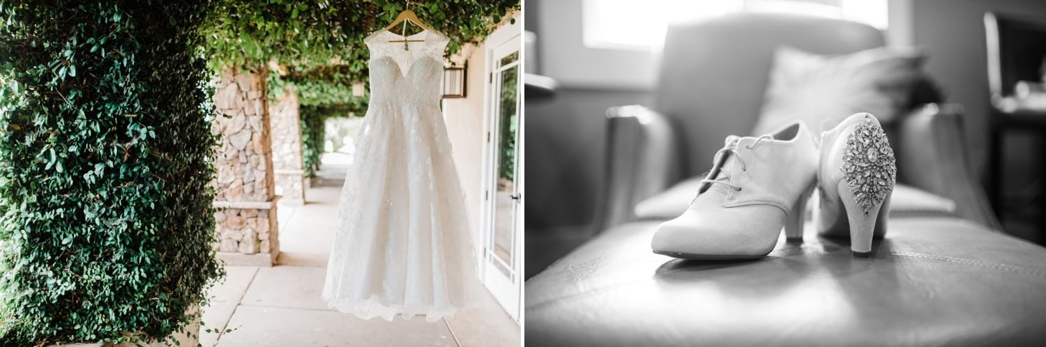 Bride's dress and shoes at twin oaks golf course.