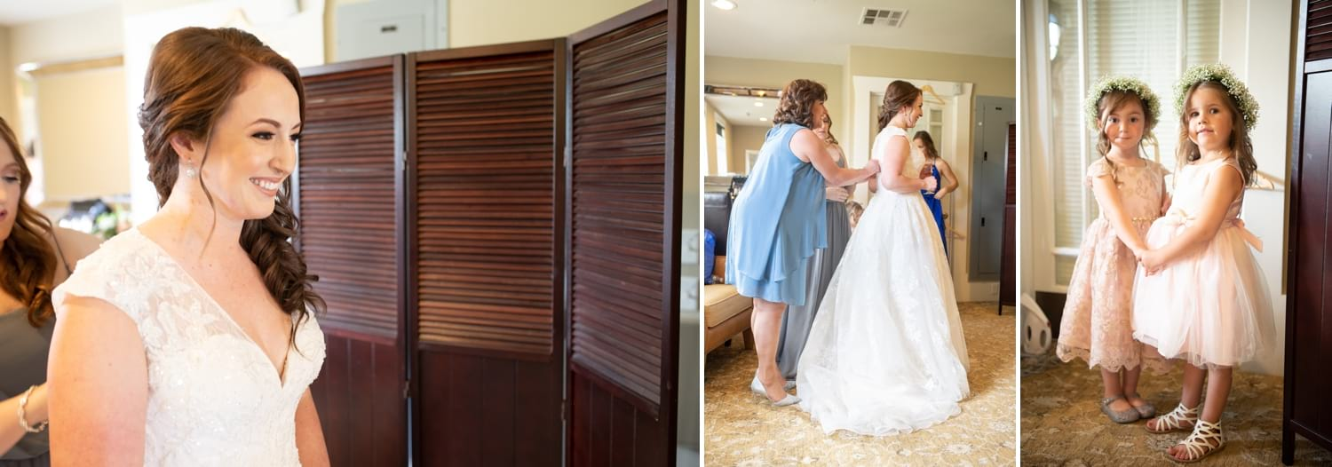 Mother of the bride buttoning her daughter's wedding dress.
