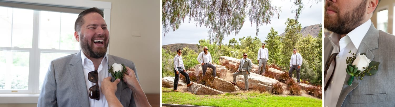 Groom and groomsmen standing on rocks.