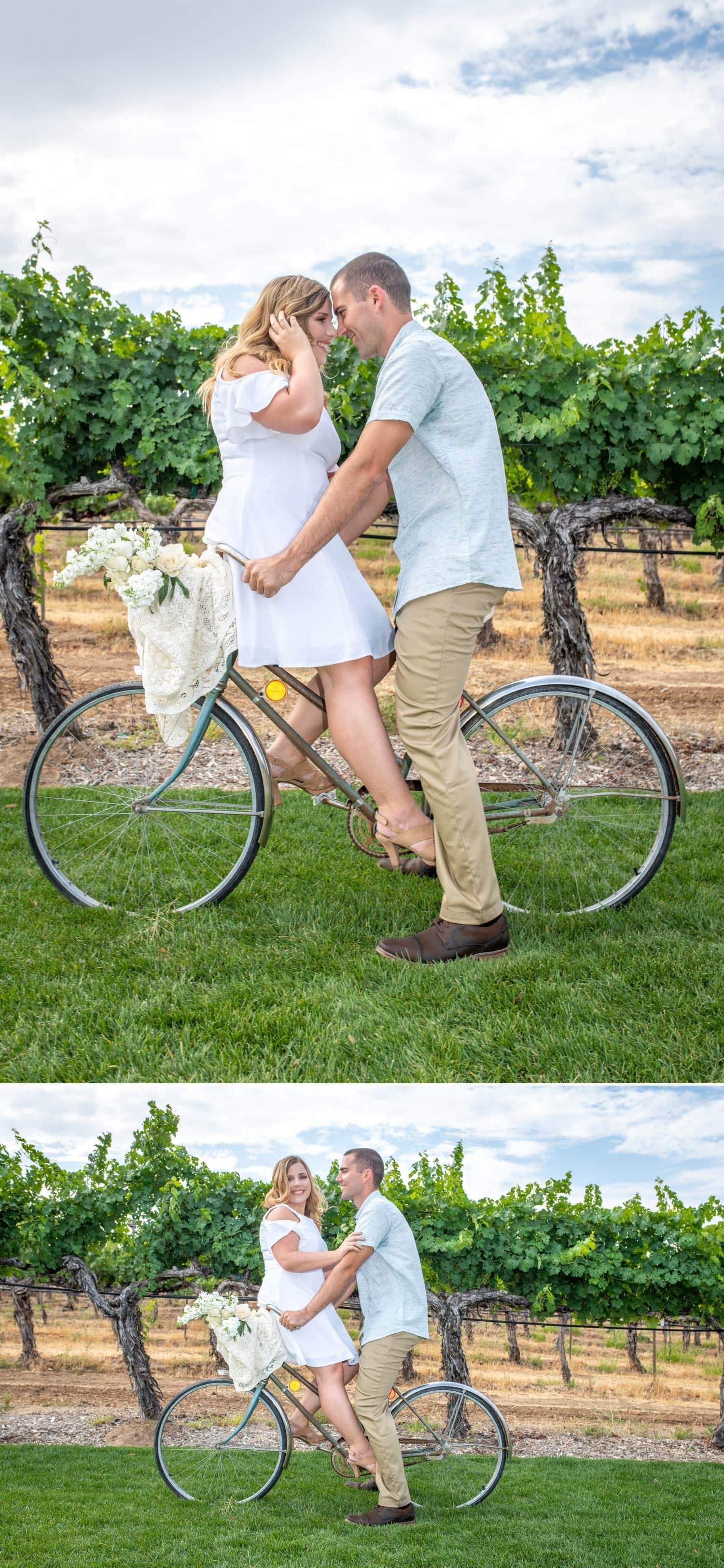 Groom and bride sitting on a antique bicycle in Temecula Wine Country.