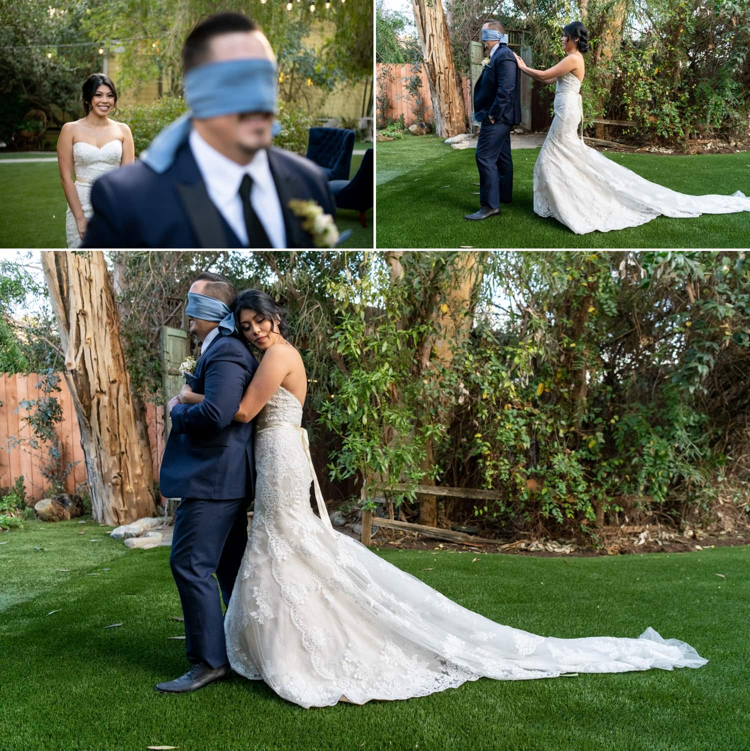 First look between bride and groom at Twin Oaks Gardens in San Marcos, CA.