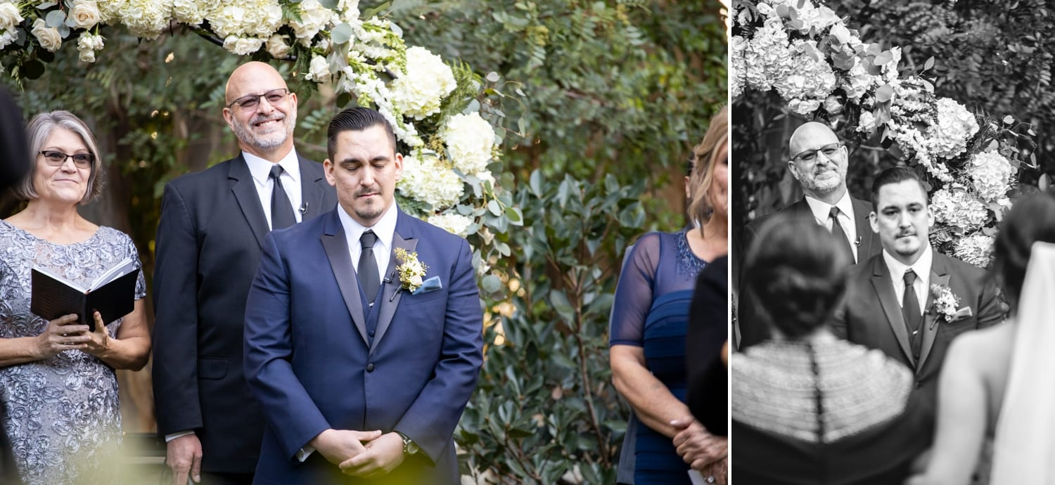 Grooms reaction to seeing bride down the aisle at Twin Oaks Gardens.