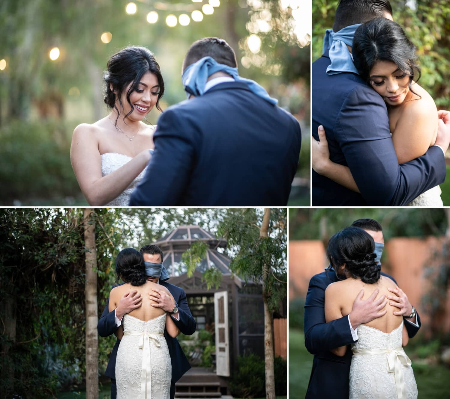 First look between bride and groom at Twin Oaks Gardens Wedding Venue.
