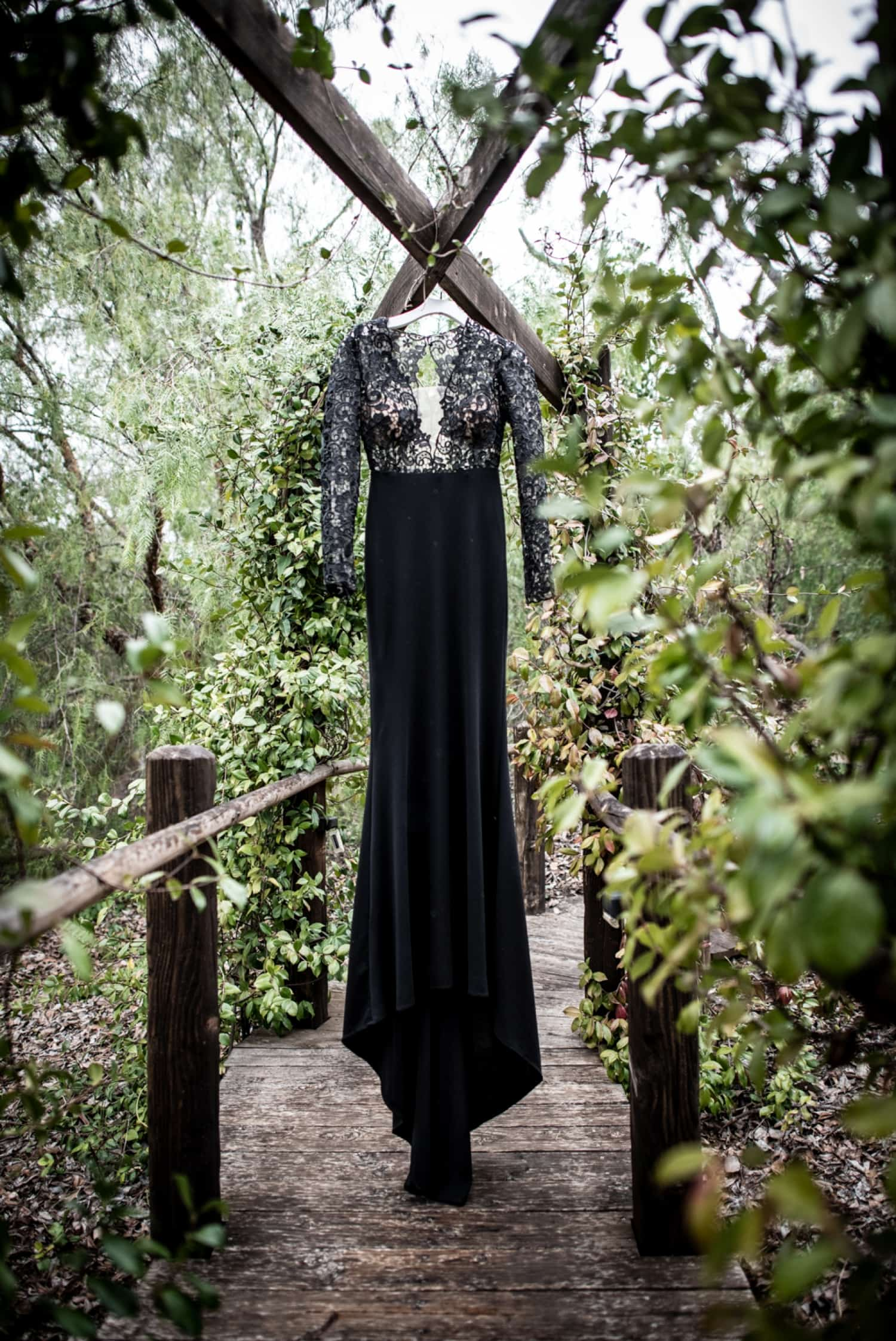 brides black wedding dress at ethereal resort