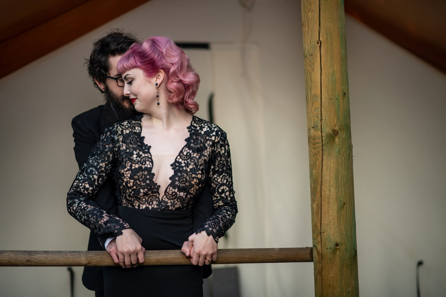 newlywed wedding portrait at ethereal open air resort