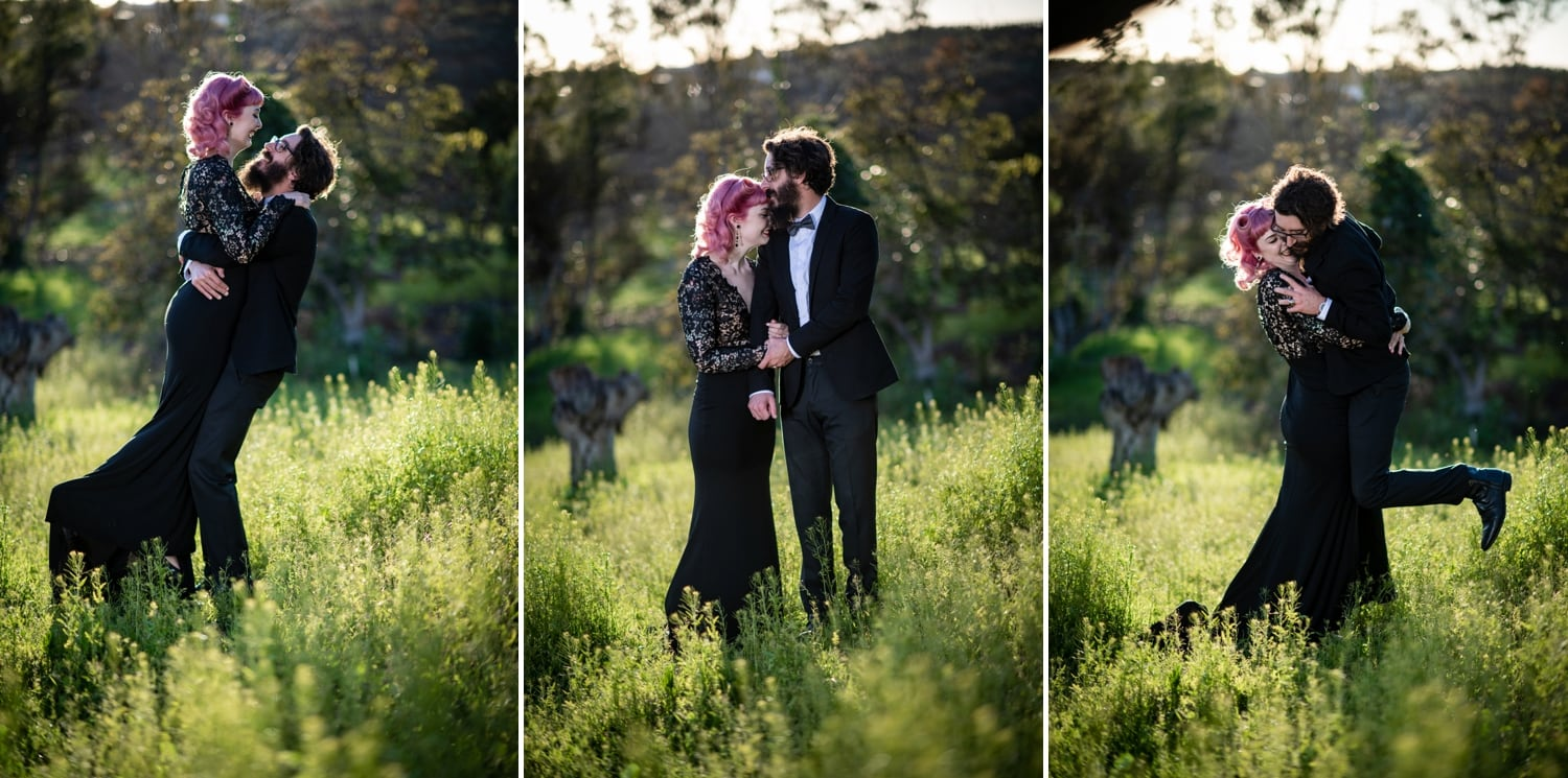 bride and groom in field at ethereal open air resort