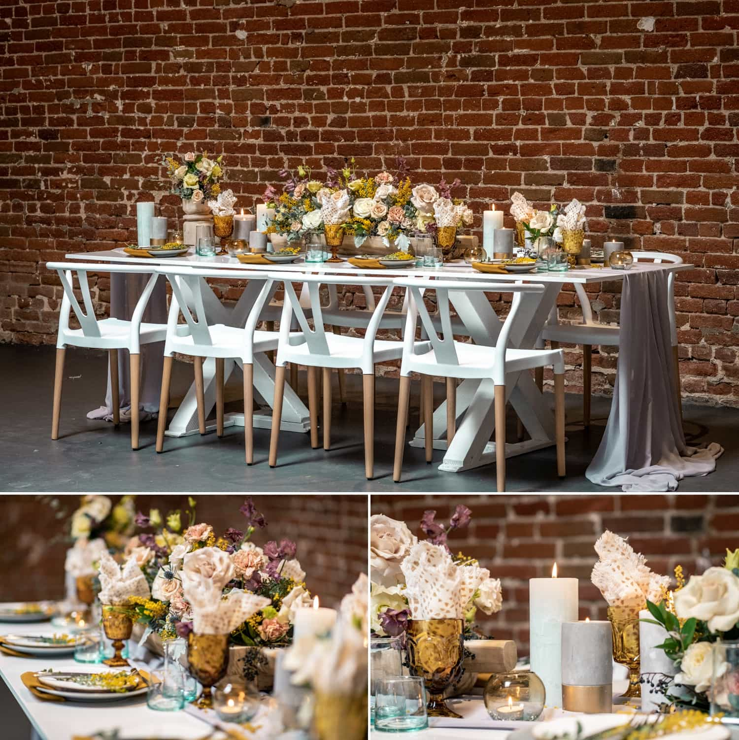 Tablescape set up at the Pannikin Building in San Diego, CA.