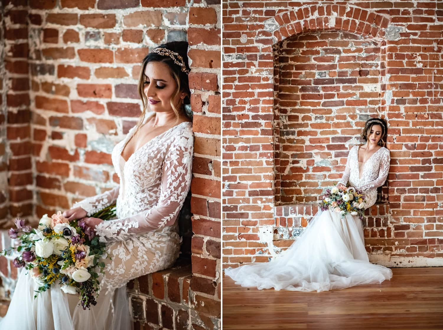 Bride against a brick wall.