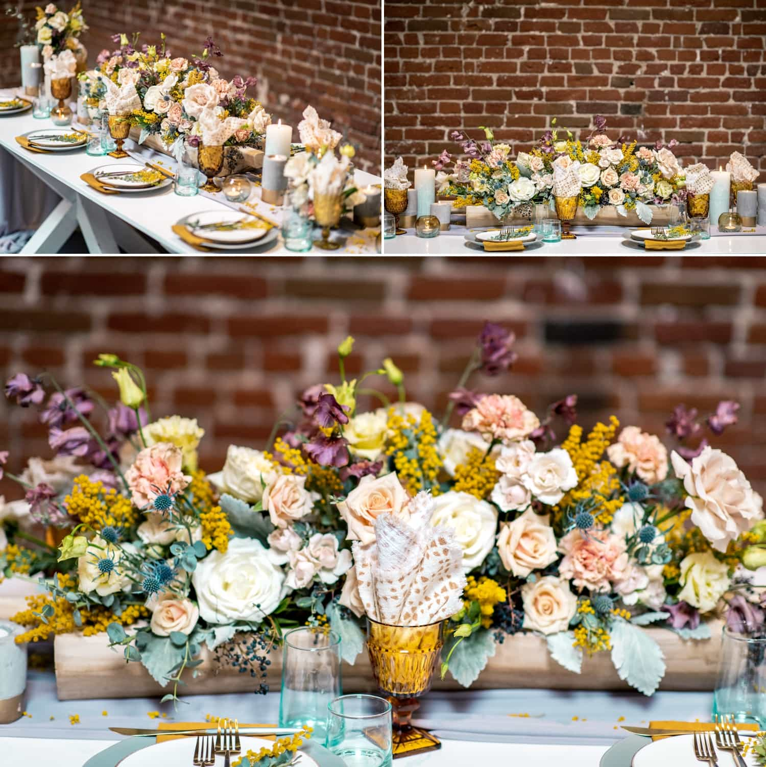 Table set up for a wedding at the Pannikin Building in San Diego