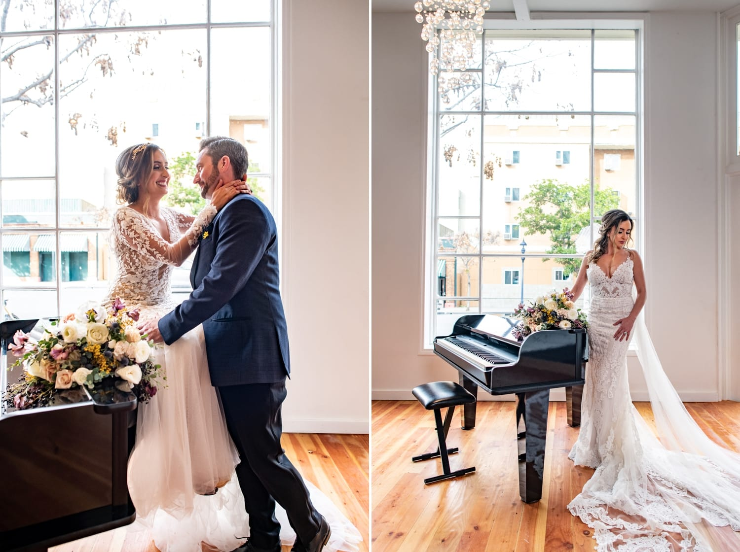 Bride and groom on a piano.