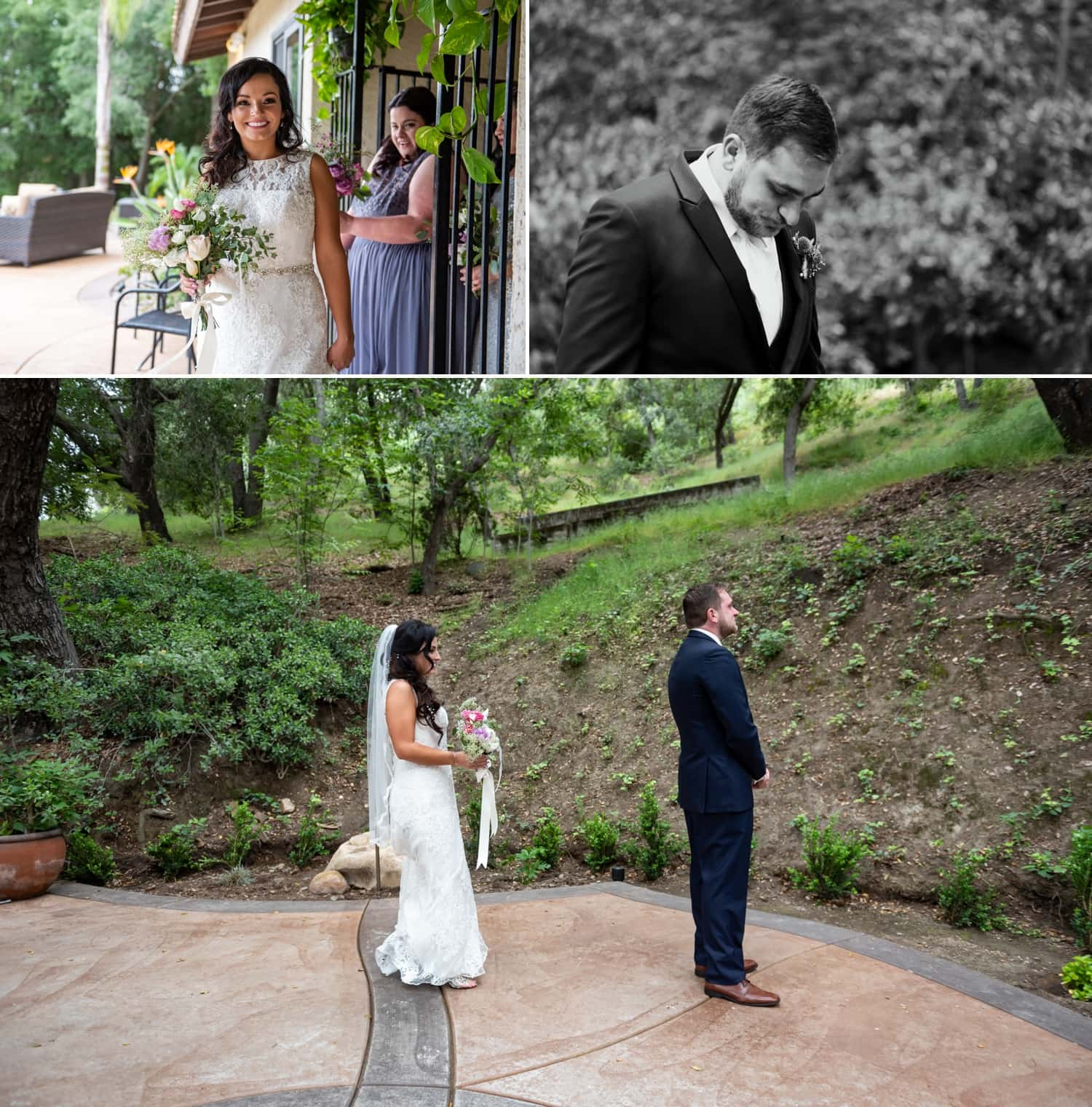 First look between bride and groom at Circle Oak Ranch in Temecula.
