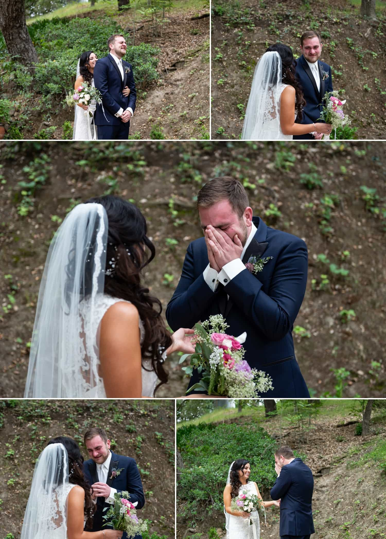 Emotional first look between Bride and Groom at Circle Oak Ranch in Temecula.