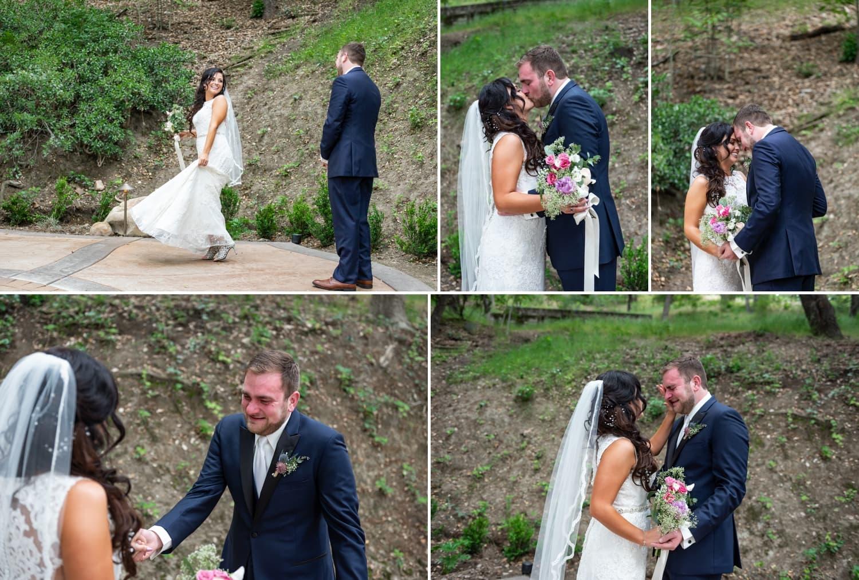 Wedding first look between bride and groom at Circle Oak Ranch in Temecula, CA.