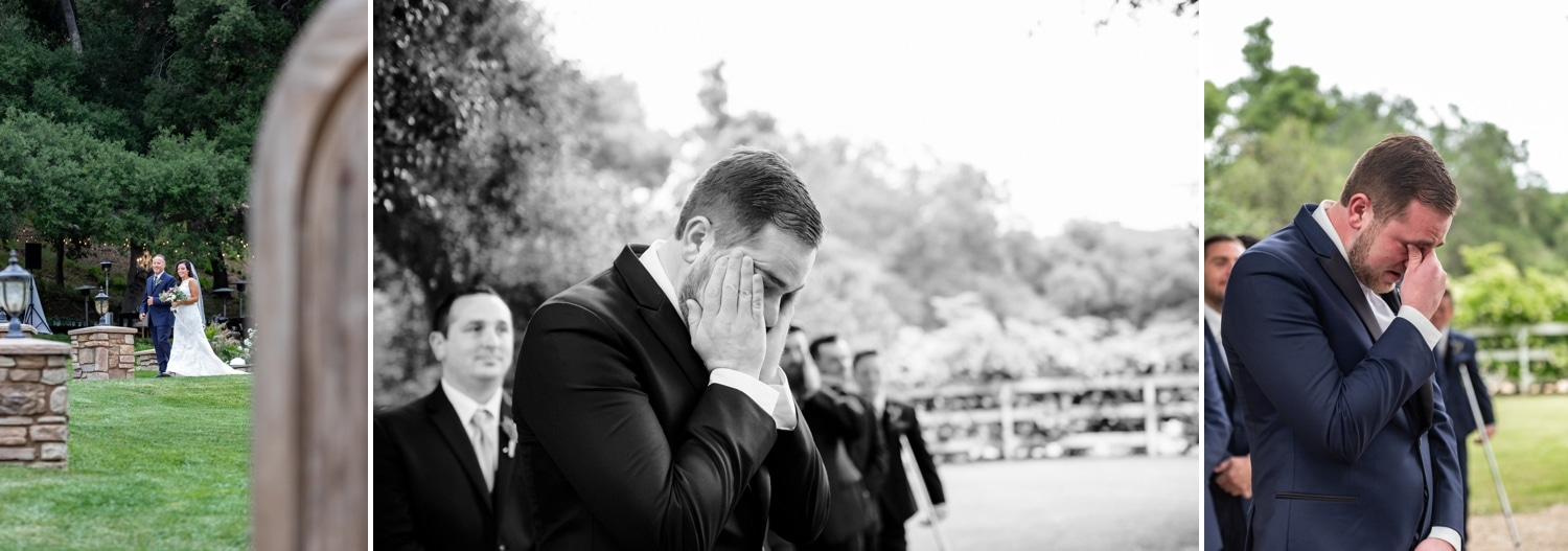 Grooms reaction to bride walking down the aisle at Circle Oak Ranch in Temecula.