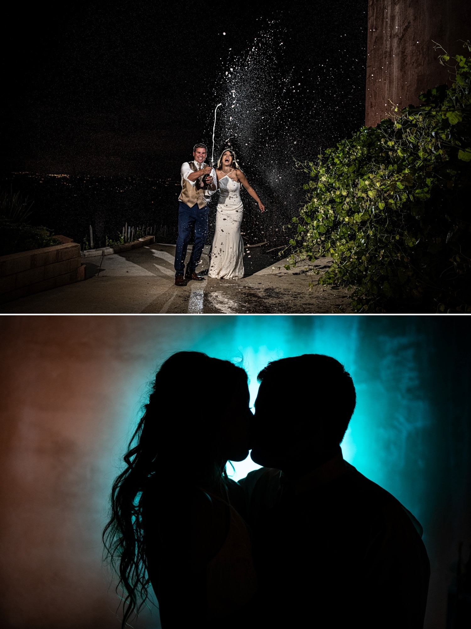 Night photography with bride and groom.