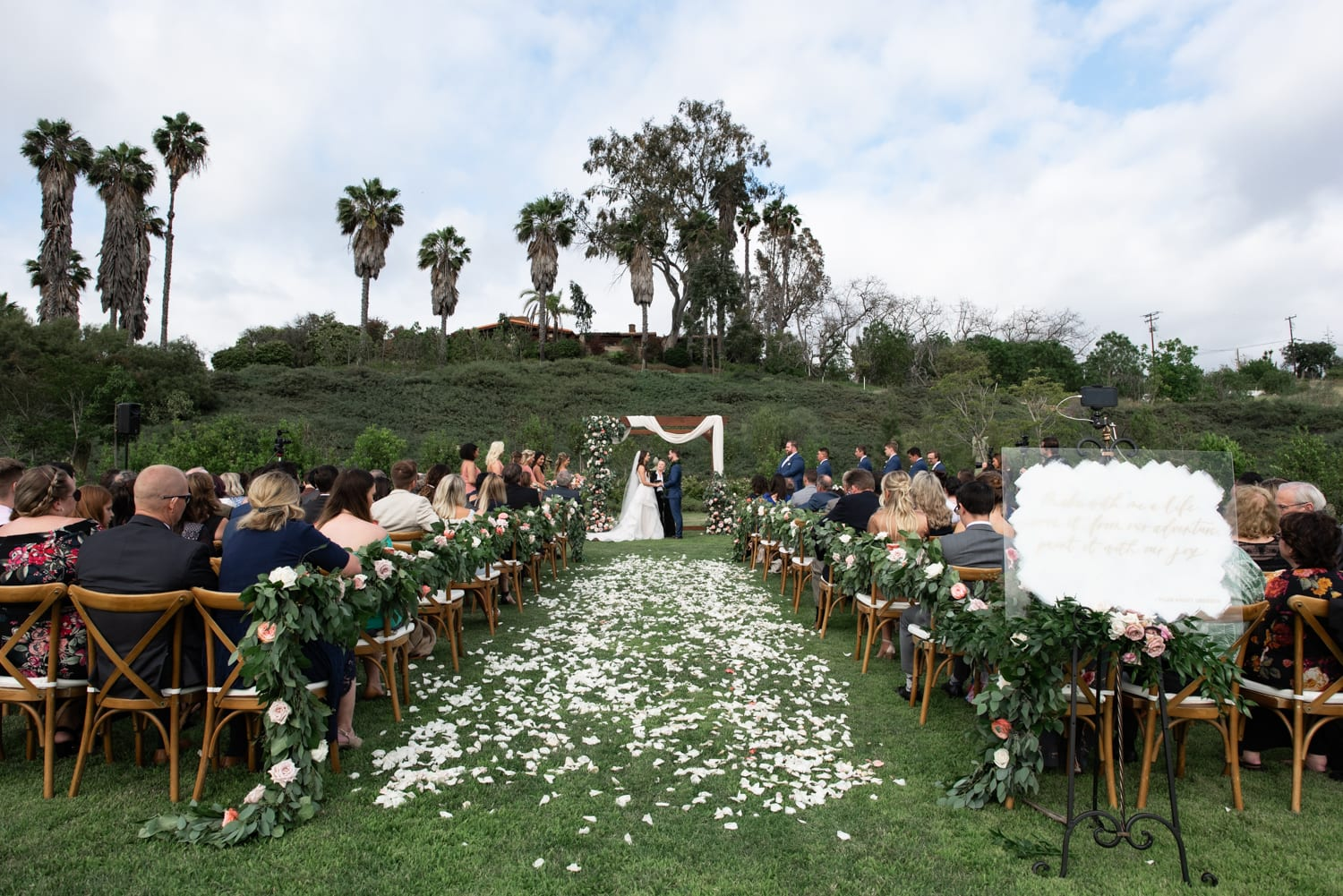 Wedding ceremony in the meadow at Ethereal Gardens in Escondido, CA.