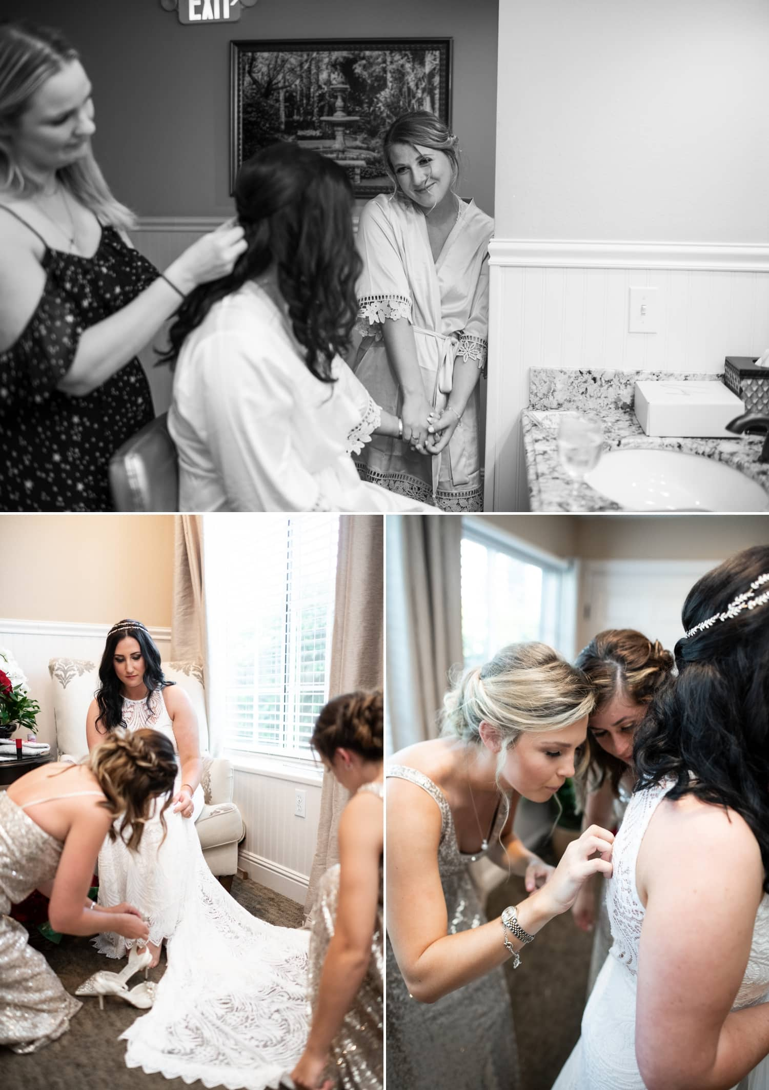 Bride getting ready for her wedding at Grand Tradition Estate.
