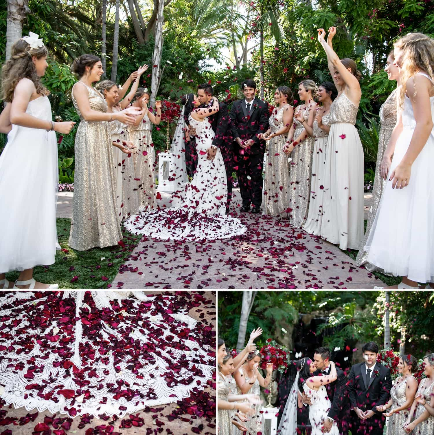 Bridal party throwing rose pedals in the air over the bride and groom.