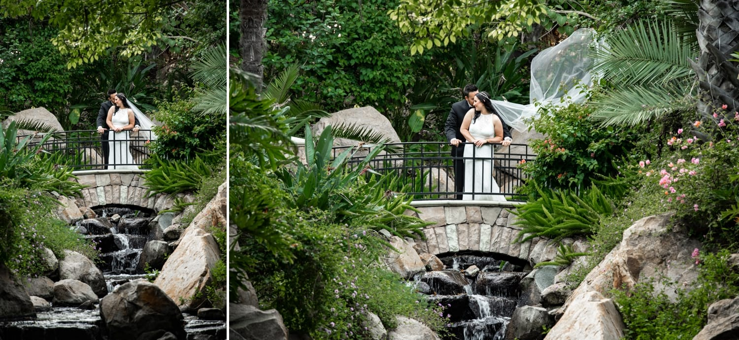 Bride and groom standing on a bridge at Grand Tradition Estate.