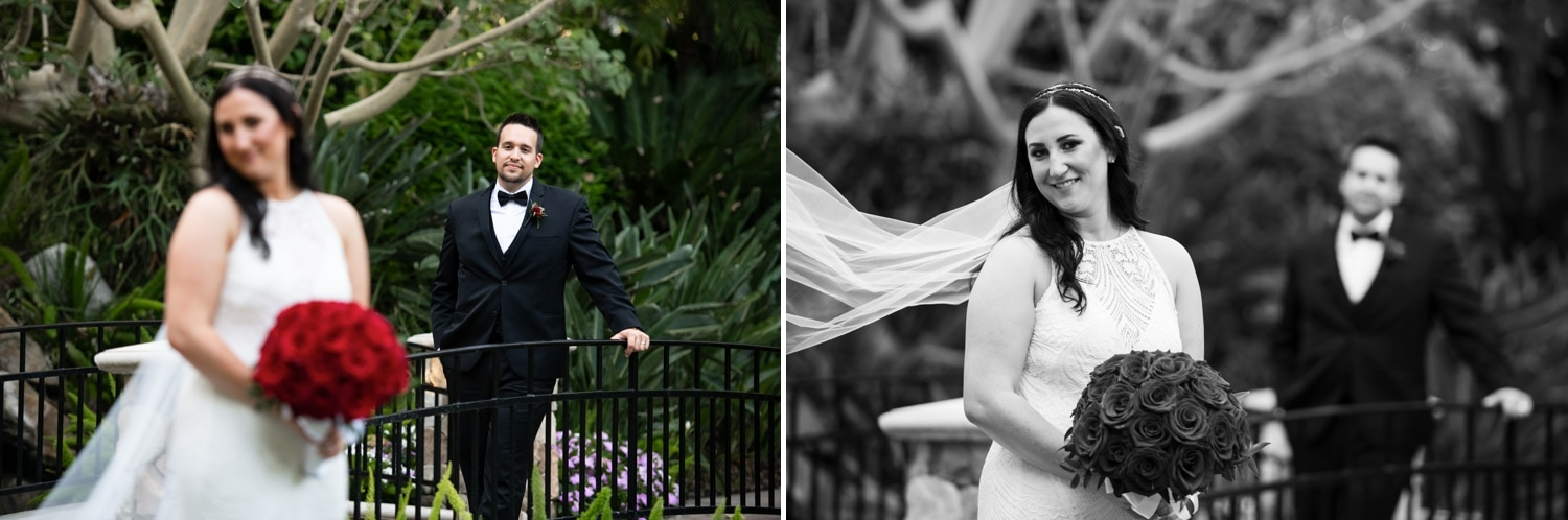 Bride and groom during their portrait session at Grand Tradition.