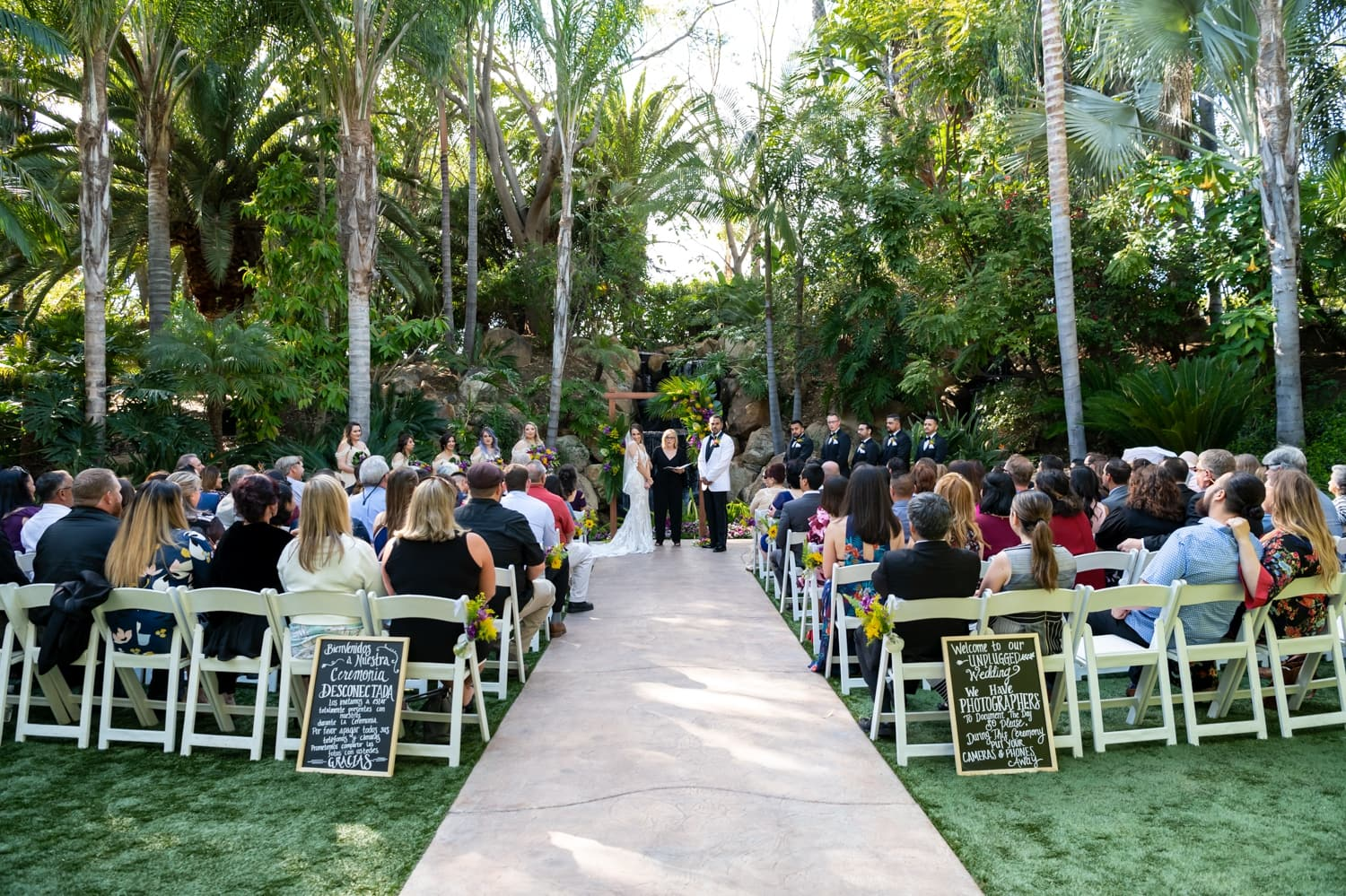 Wedding ceremony at Arbor Terrace at Grand Tradition Estate in Fallbrook, CA.