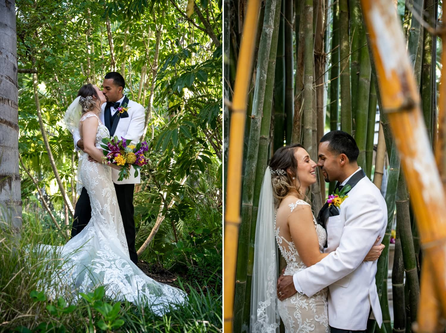 Bride and groom standing in the bamboo at Grand Tradition Estate.