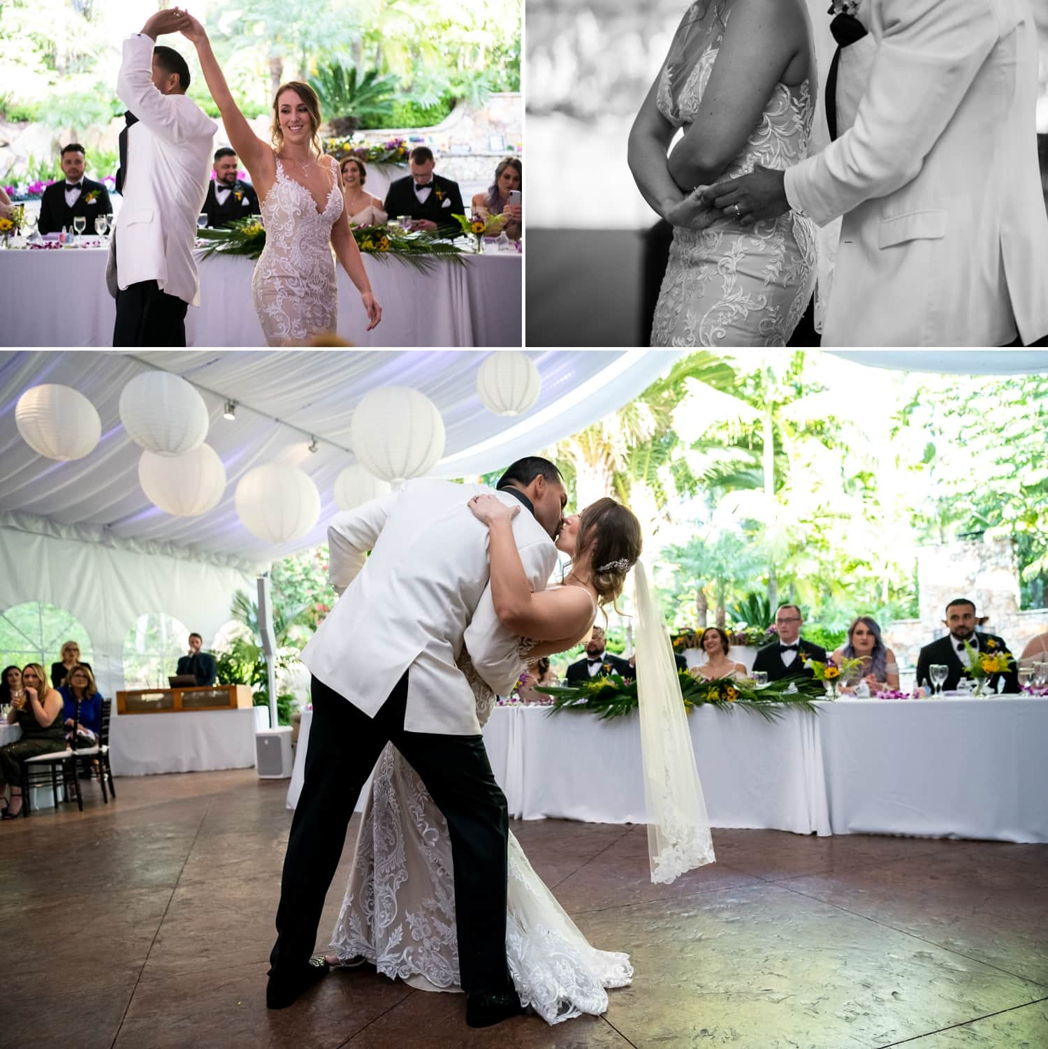 Bride and groom having their first dance at their wedding.