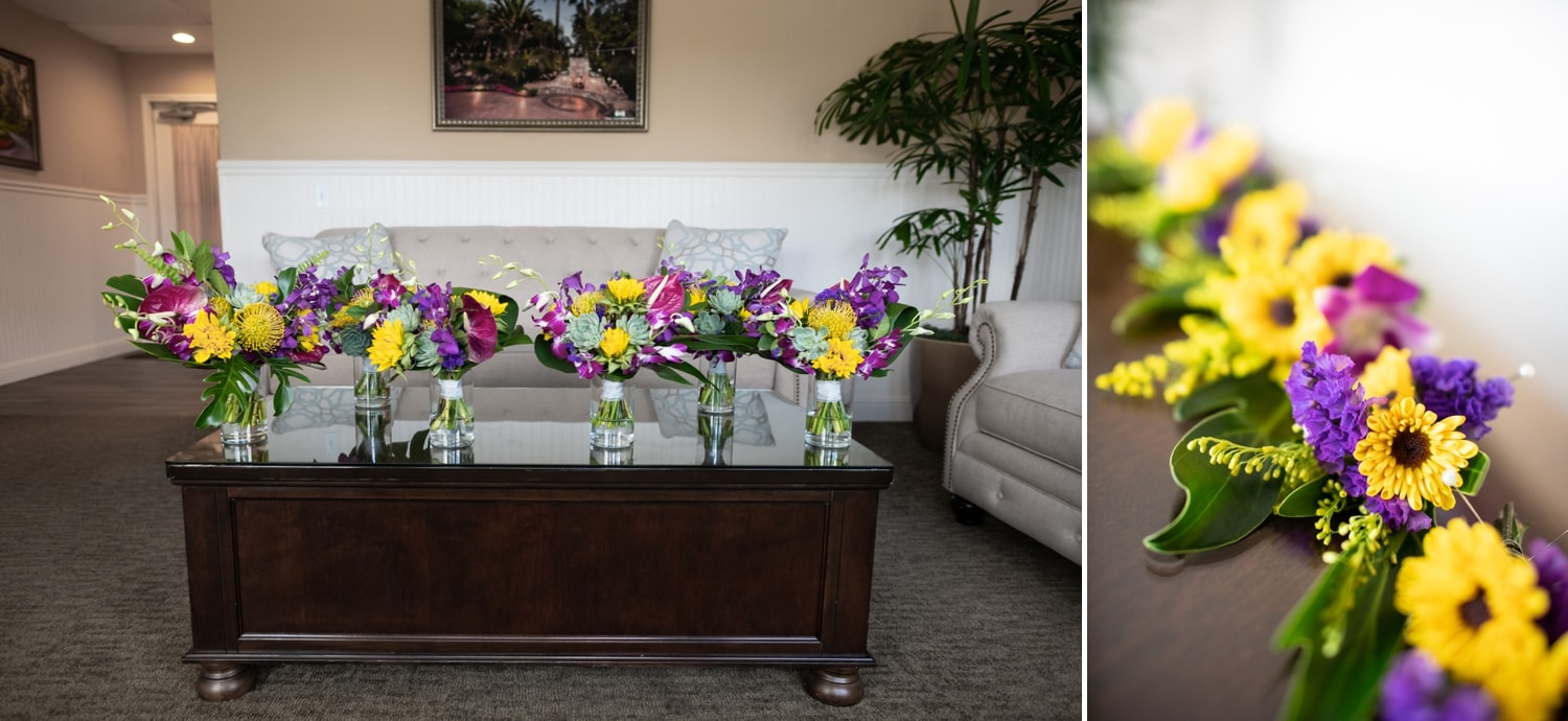 Bouquets in the bridal suite at Grand Tradition.