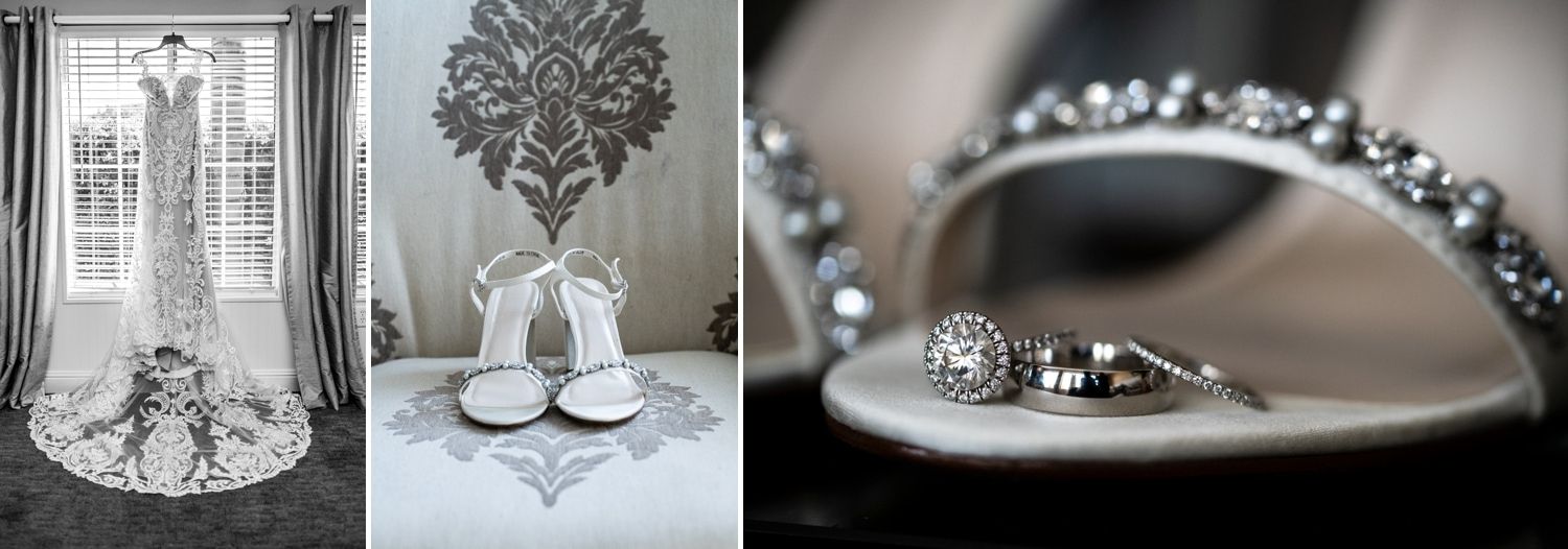 Brides shoes, dress and rings in the bridal suite at Grand Tradition Estate.