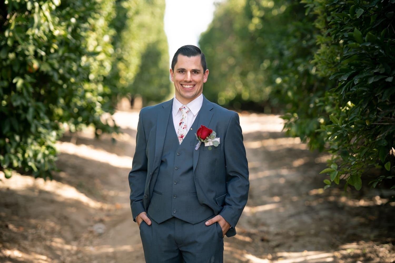 Groom before his wedding at Lorimar Winery in Temecula, CA.