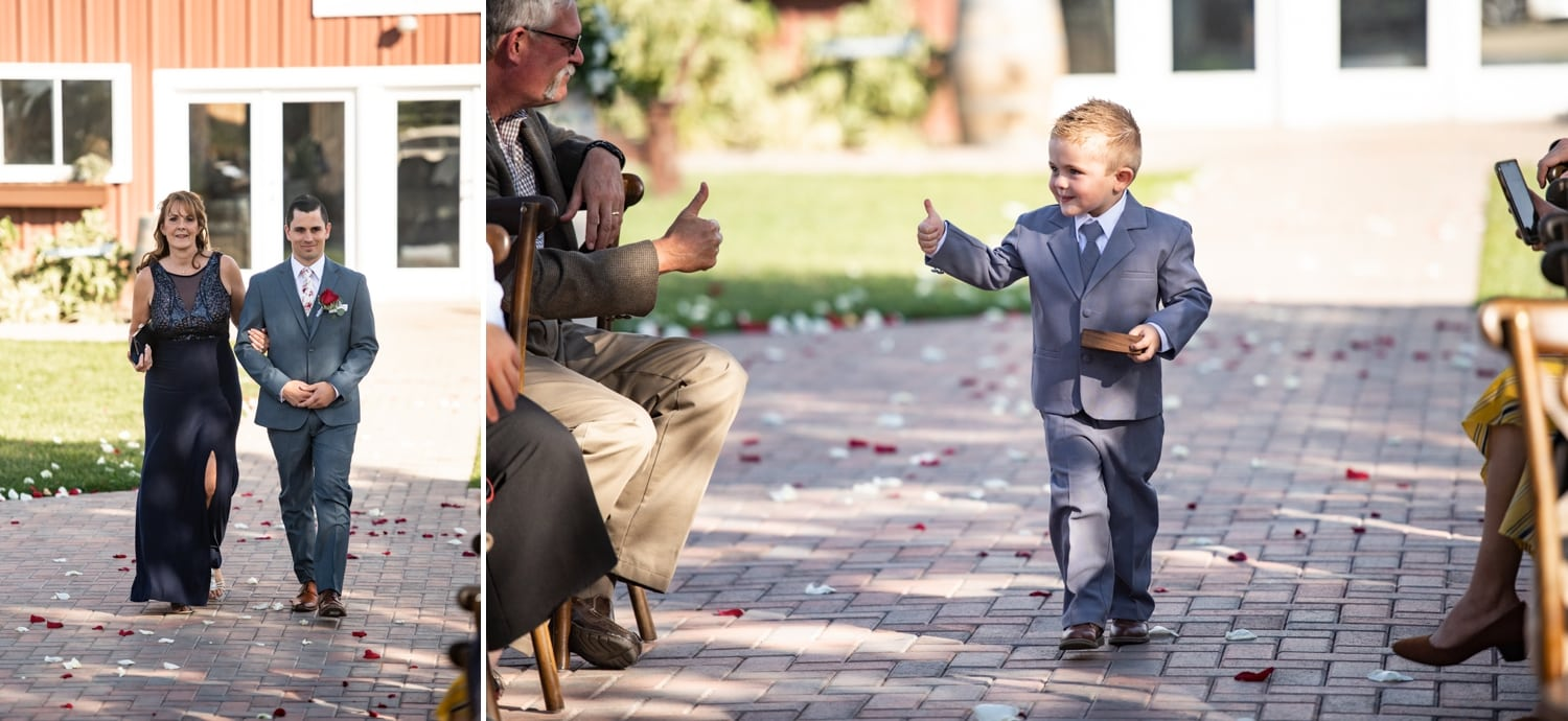 Groom and ring bearer walking down the aisle at a wedding at Lorimar Winery.