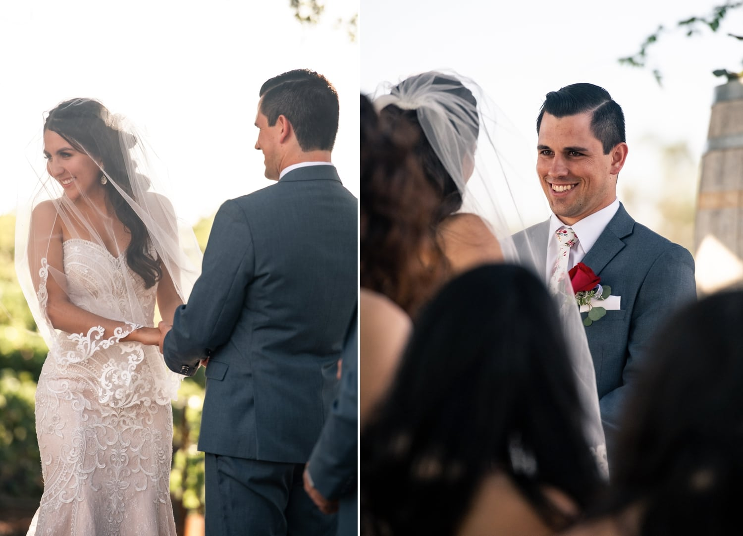 Groom looking at his bride during their wedding ceremony.