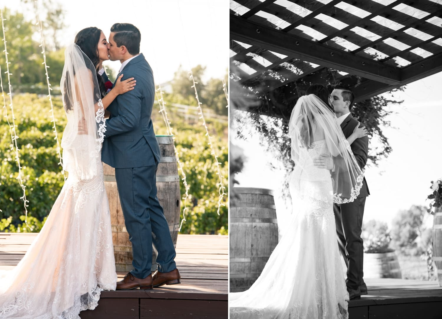 Bride and groom's first kiss at Lorimar Winery.