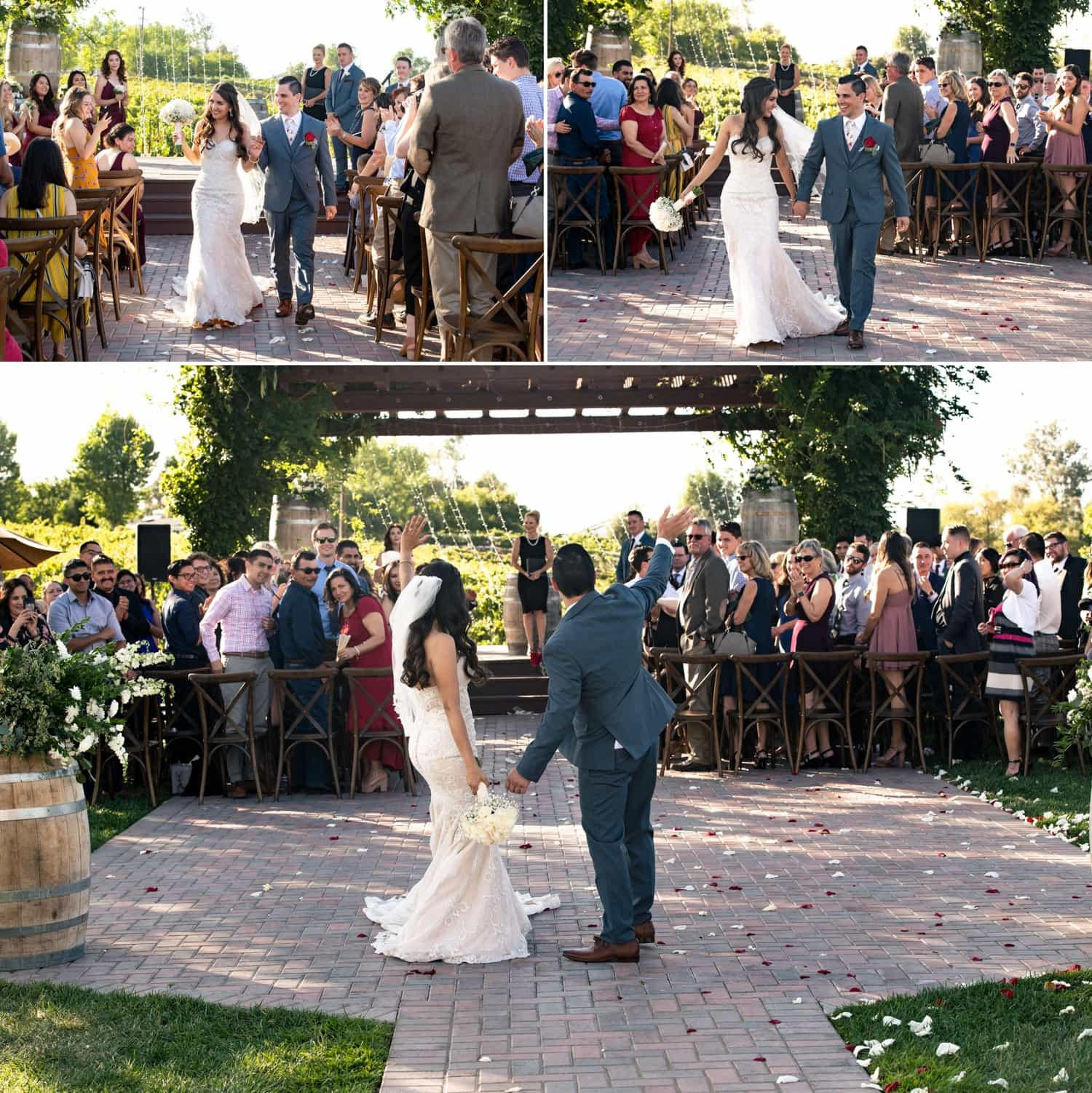 Bride and groom exiting their wedding ceremony at a winery in Temecula.