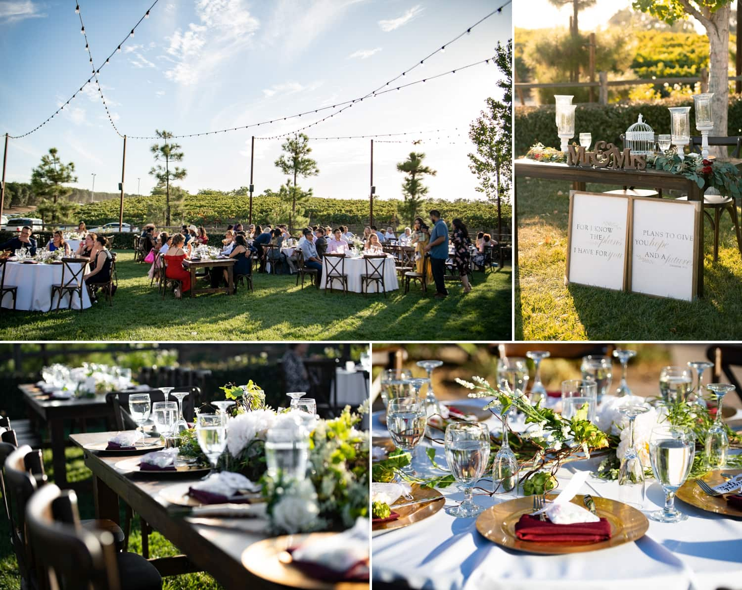 Reception details in Temecula wine country.