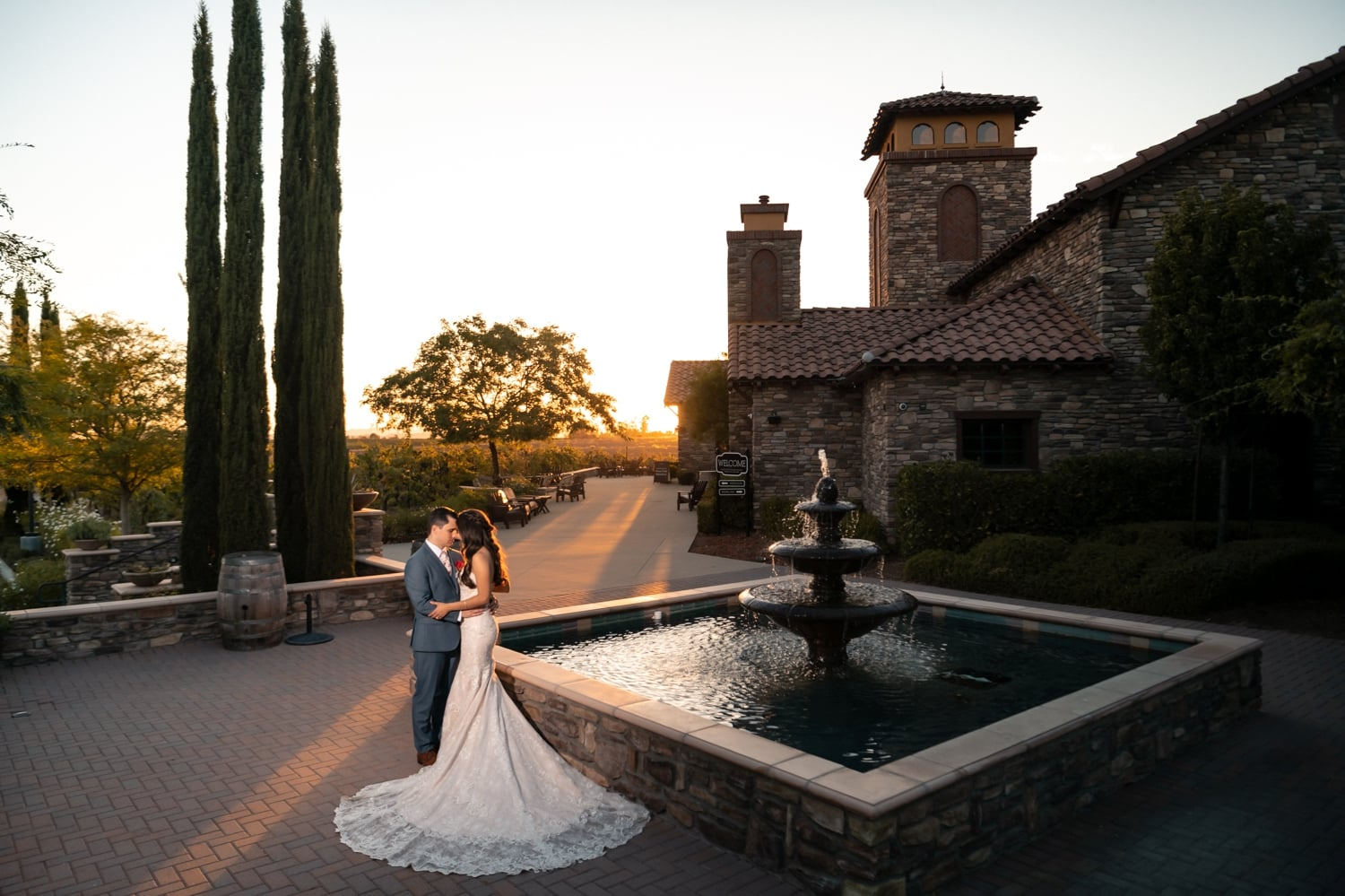 Newlyweds outside of Lorimar Winery in Temecula Wine Country.