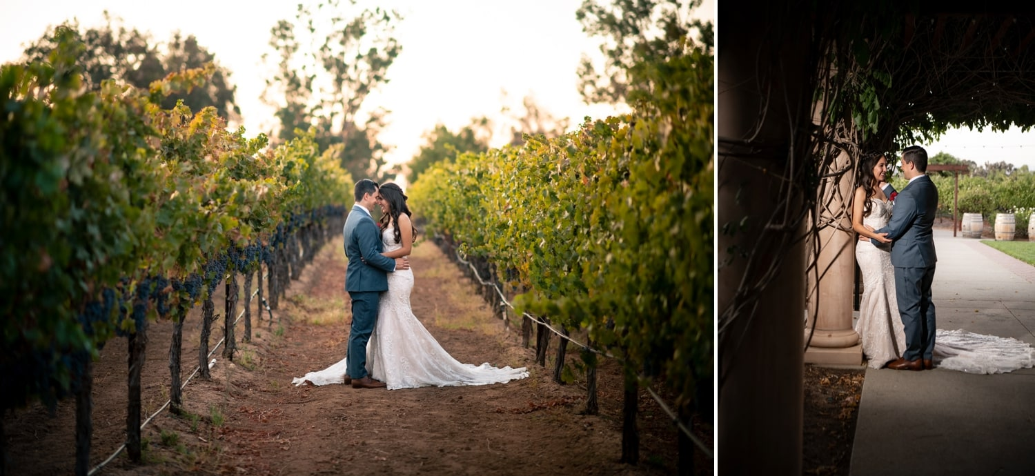 Bride and groom in Wine Country in Temecula, CA.
