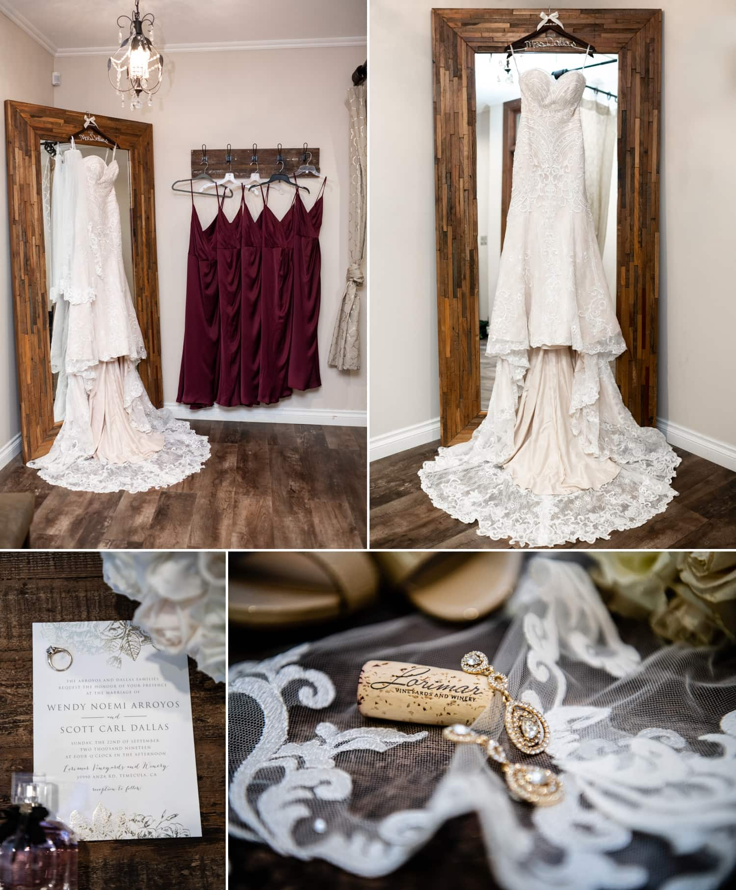 Bride's dress hanging in the bridal suite at Lorimar Winery.