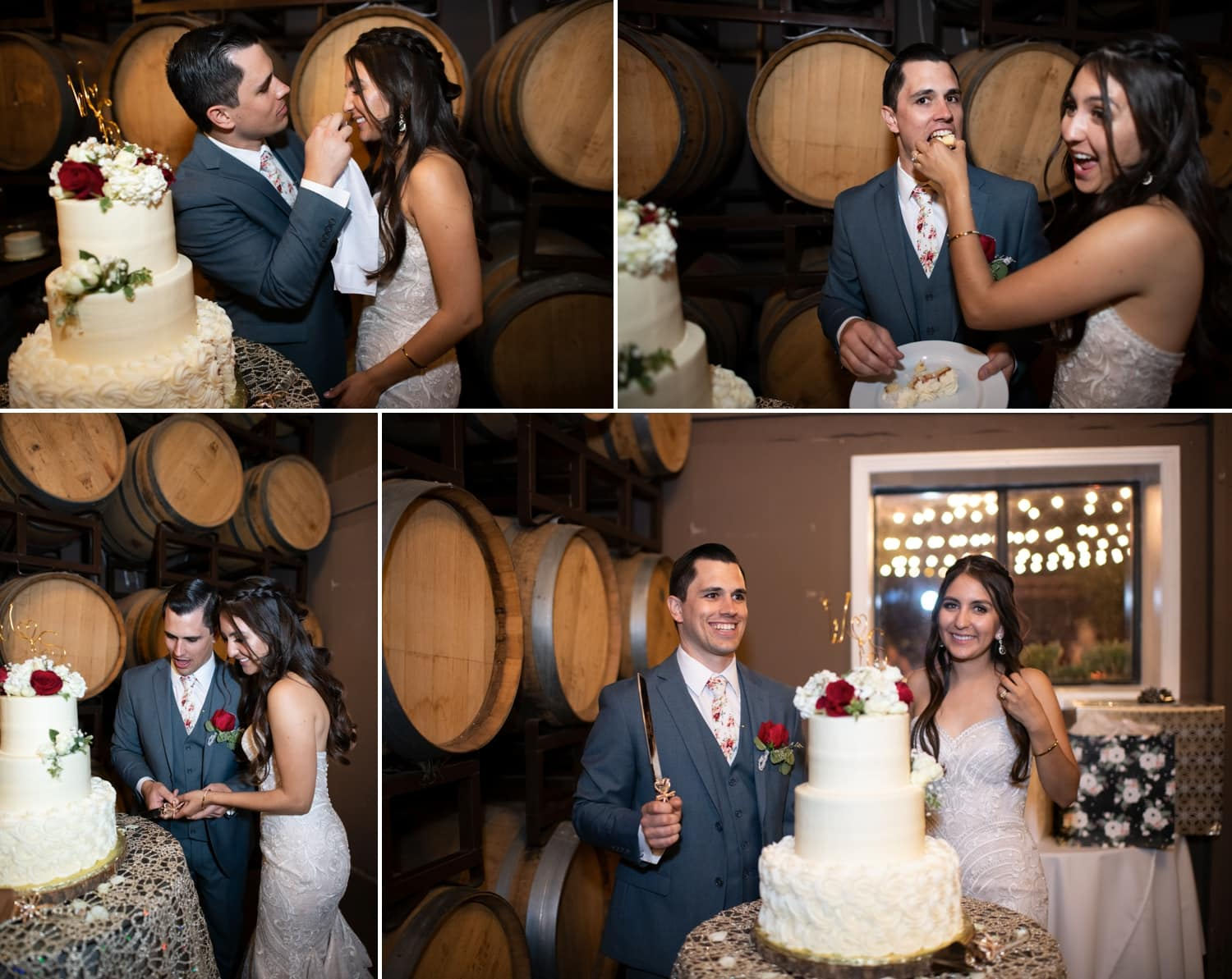 Bride and groom cutting their wedding cake at the Lorimar Winery Barrel Room.