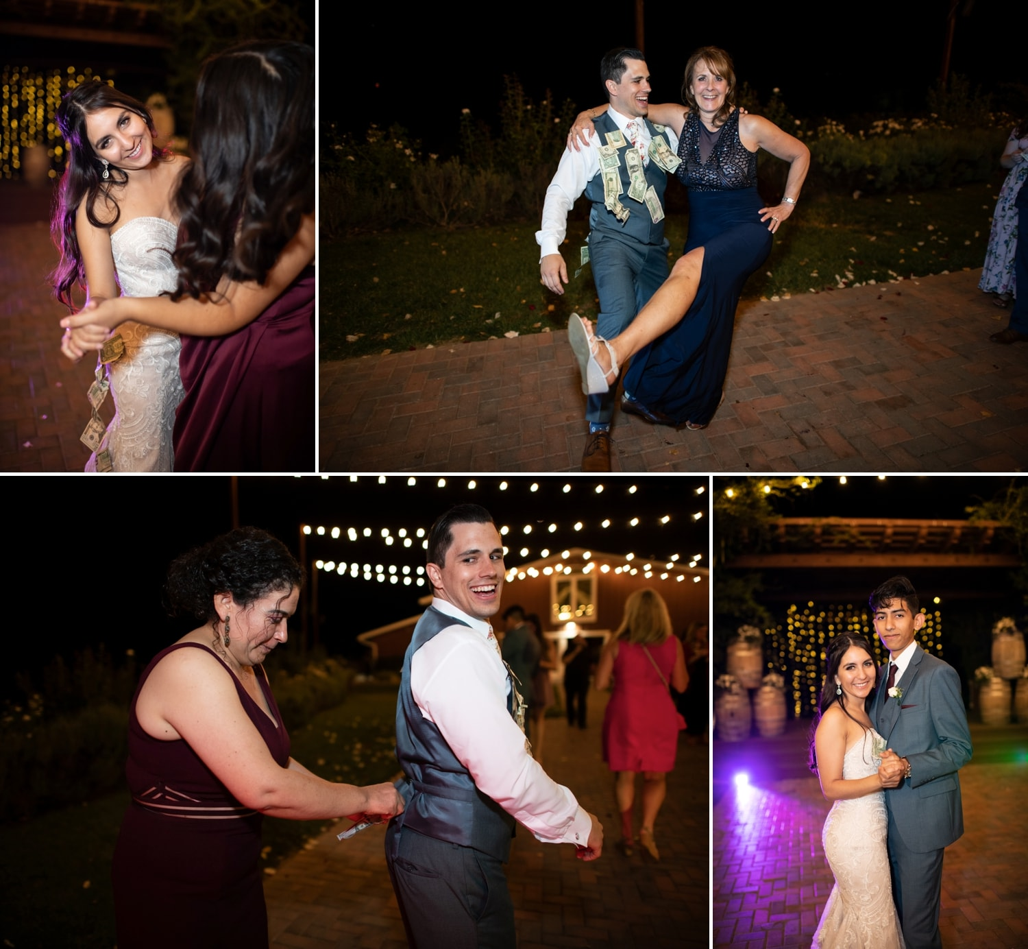 Bride and groom doing a money dance at their Lorimar Winery wedding.