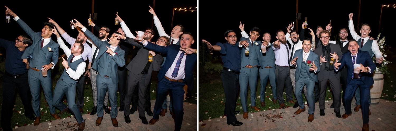 Guys dancing at a Lorimar Winery wedding.