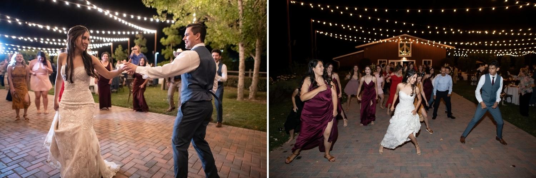 Bride dancing at her wedding at Lorimar Winery in Temecula.