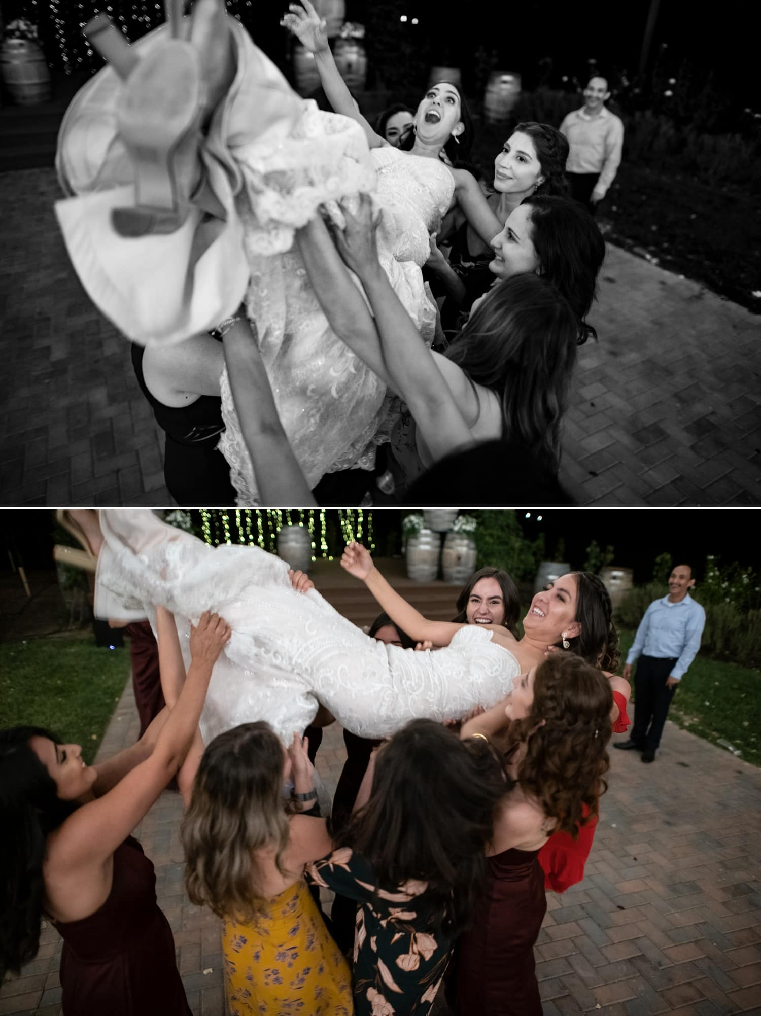 Bride bring lifted up in the air at her wedding in Temecula.