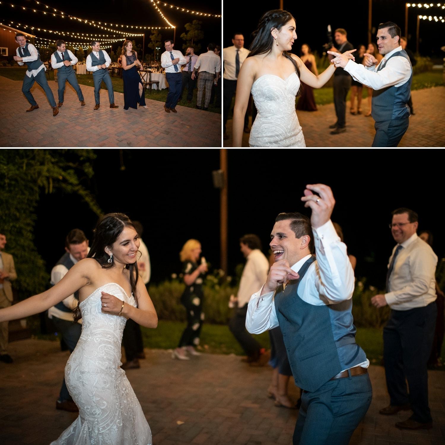 Bride and groom dancing at their wedding in Temecula.