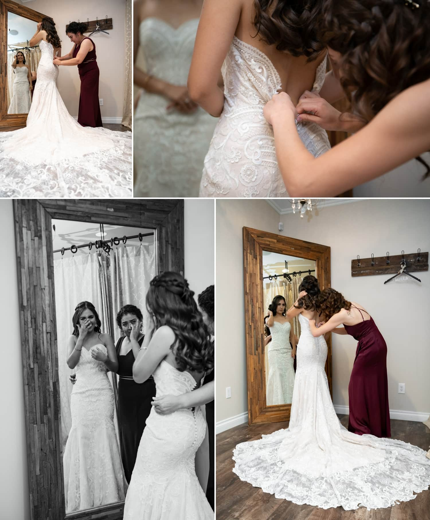 Bride getting her dress on at Lorimar Winery.