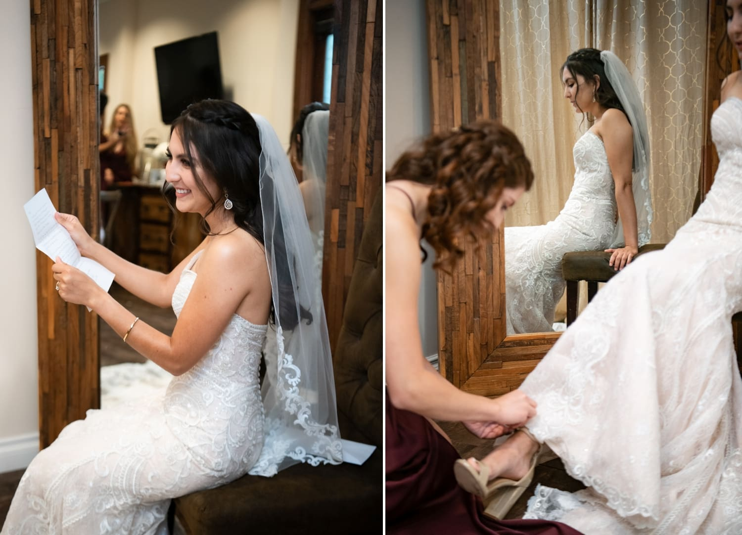 Bride reading a letter from her groom.