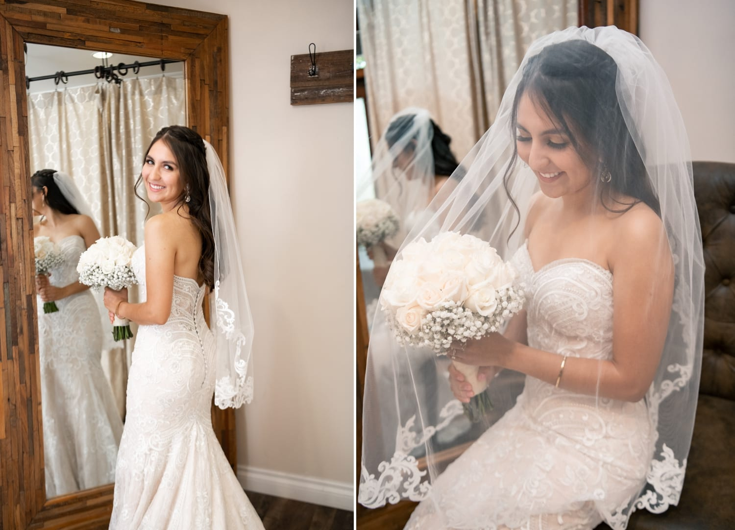 Bride with her bouquet at Lorimar Winery.