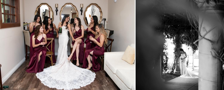 Bride and her bridesmaids at Lorimar Winery.
