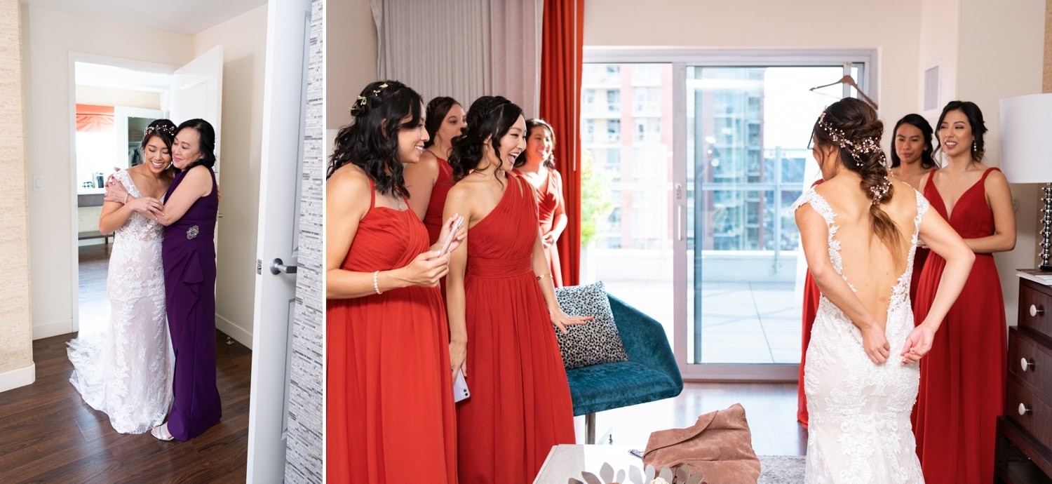 Bridesmaids and mom seeing the bride for the first time.